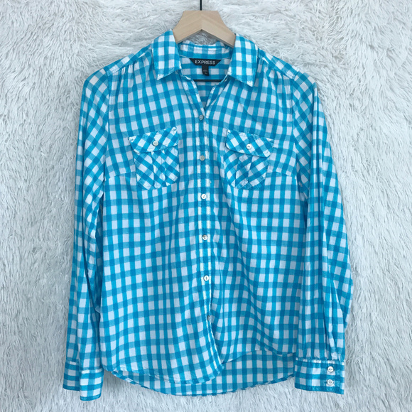 1213120f Express Tops | Blue Gingham Button Down Shirt Small | Poshmark